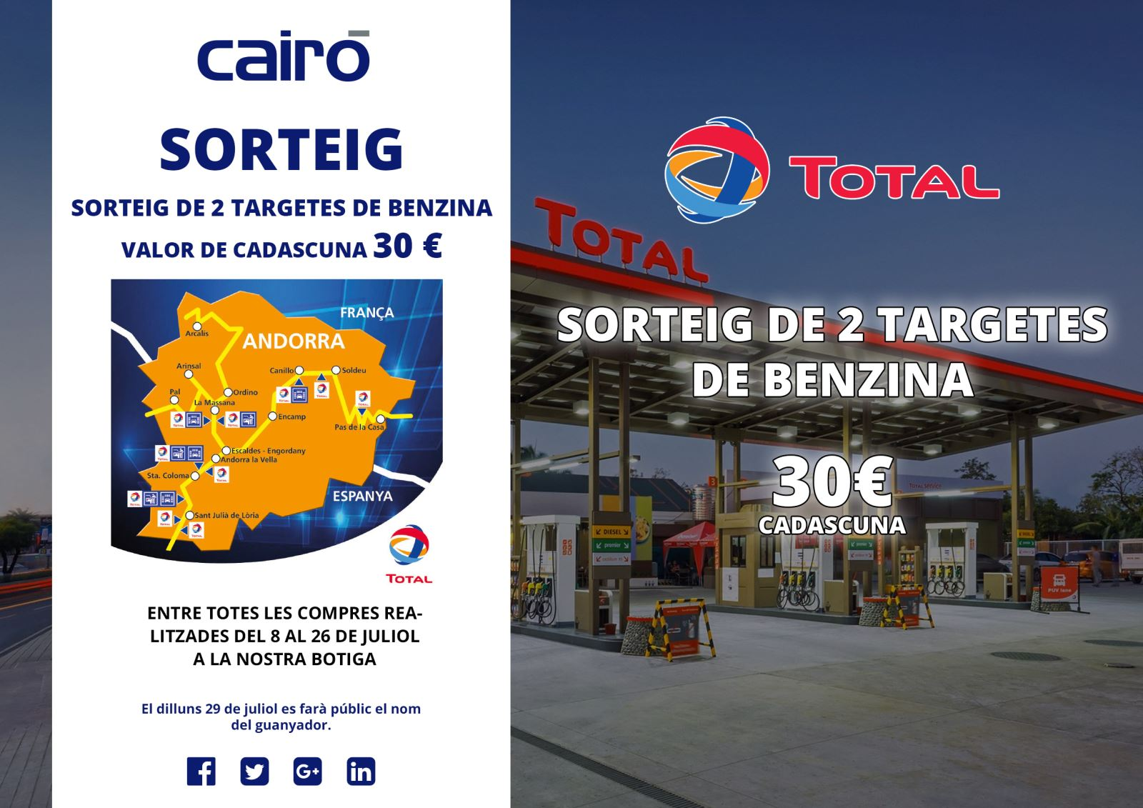 sorteig targetes benzina 30 euros TOTAL